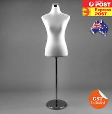 WHITE Female Dress Form Mannequin Torso Cover Chrome Stand PWM-1