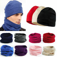 Women Men Thermal Fleece Snood Scarf Ski Balaclava Neck Warmer Solid Beanie Hat
