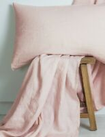 M Home French Linen Quilt Cover Blush Double Stitch