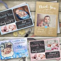 New Baby Thank You Cards, Personalised, Birth Announcement, Girl Boy & envelopes