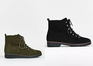EX EVANS EXTRA WIDE FIT (EEE) Block Heel Hiker Boots Ankle Boots Lace Up Curve