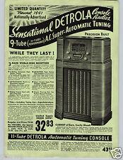 1941 PAPER AD Detrola Console Floor Model Radio 11 9 Tube Arvin Car Auto