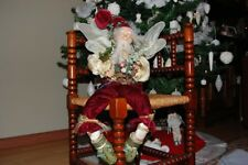 """Vintage 70's Christmas Forest Fairy Doll Wings and Bird 19"""" Porcelain Head Hands"""