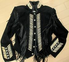 Vintage Fringe Motorcycle Black Suede Bead/Wood Trim Novelty Jacket -Size 8