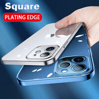 Case For iPhone 12 Pro Max 12 Mini Shockproof Plating Edge Clear Soft TPU Cover