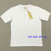 BOB DONG Vintage Slubby Cotton Henley Shirts Ribbed Cuffs Men's Tee Shirts White