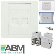 CAT6 Double 2 Ports Socket RJ45 Wall Face Plate Faceplate Lan Patch Cat 6