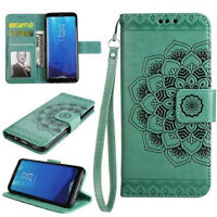 (Green)Half Mandala Flip Cover Stand Wallet PU Leather Case For Various Phones
