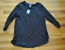 NWT Womens GRACE ELEMENTS Black Rounded Neck Top 3/4 Sleeve Shirt Sz Small