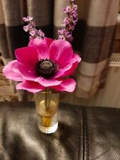 Artificial Purple & Lavender Wild Flower in Shot Glass Vase in Clearwater Resin