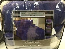 Hotel New York Over Sized Over Filled 6 Piece Comforter Bedding Set King Navy