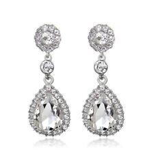 New Fashion Rhodium Plated Platinum Clear Crystal Rhinestone Bridal Drop Earring
