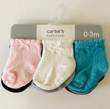 Carters Newborn 3 Months 6-Pack Pointelle Booties Socks Baby Girl