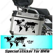 PAIR OF STICKERS WORLD MAP BMW R 1200 GS LC GLOBE FOR SIDE CASES BLACK