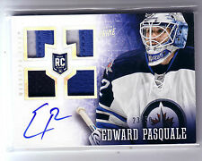13/14 PANINI PRIME EDWARD PASQUALE HOLOSILVER QUAD 3C JERSEY PATCH RC AUTO /50