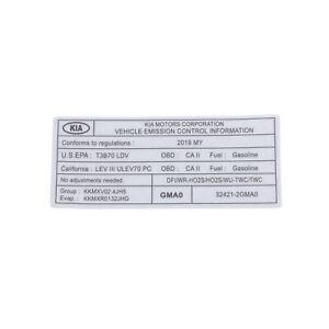 OEM NEW Emission System Information Label 2019-2020 Kia Sorento 32421-2GMA0
