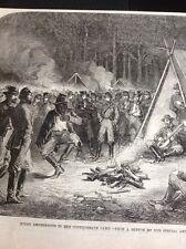 J1-6 Ephemera 1863 Folded Picture American Civil War Confederate Camp At Night