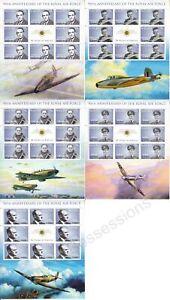 NAURU MNH STAMP SHEETS 2008 RAF 90TH ANNIVERSARY FULL SHEETS SG 664-668