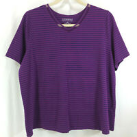 Plus Catherines Purple Black Striped Top Stretch Short Sleeves Size 2X 22/24W