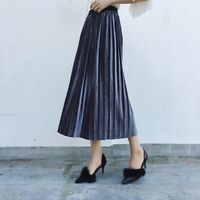 Women Velvet Pleated Skirt Midi Metallic Elastic A-line High Waist Swing Skirt