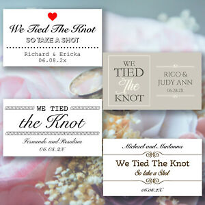 """Personalised Rectangle Wedding Stickers """"We Tied the Knot Take a Shot!"""" Favour"""