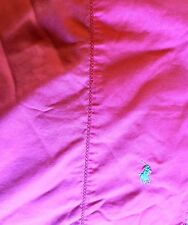 RALPH LAUREN POLO DEEP PINK BLUE PONY QUEEN FLAT SHEET