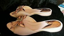 Indorables 1950's Rose Pink Slip on Slippers Lame Bows w/ Rhinestones Size ?