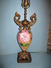 19thC Antique ART NOUVEAU Brass Repousse ROCOCO Parlor Victorian LAMP