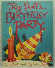 The Doll's Birthday Party  vintage old children's book Helen Lamb paper dolls