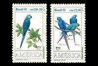 Birds Parrots UPAEP Brazil 1993 Mic 2548-49 Sn 2423-24 Yvert 2136-37 RHM 1865-66