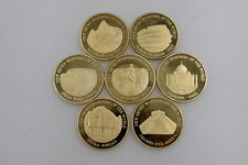 World Wonders Coin Seven Gold Coins Commemorative Set 7pcs Collection for Gifts