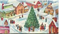 VINTAGE CHRISTMAS VILLAGE HOUSES STORES TREE CHURCH SNOW EMBOSSED GREETING CARD