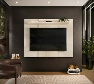 Wall Mounted TV Floating Panel Extendable Unit Shelving MDF Gloss White Jarvis