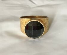 Gold-Plated Black Faceted Gemstone Statement Ring Signed India 925 Sterling 9