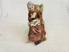 Flambro Porcelain Figurine Old Woman Sitting In Rocking Chair Reading Pt2