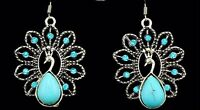 Antique Silver Plated Cute Crystal Peacock Drop Earring