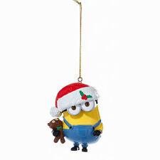 DESPICABLE ME MINION DAVE w/TEDDY BEAR & SANTA HAT CHRISTMAS ORNAMENT