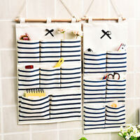 6/8 Pockets Cotton Linen Fabric Wall Door Hanging Bag Organizer Storage Pouch Vs