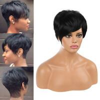 Women Pixie Cut Black Short Straight Wig Fashion Synthetic Hair Wavy Wigs Party