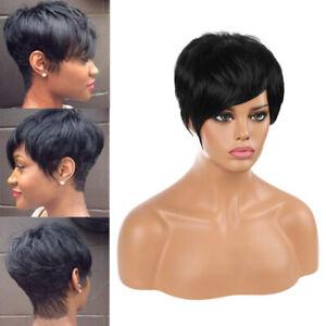 Women Short Straight Wigs Black Wavy Hair Pexie Cut Wig Synthetic Wigs Cosplay