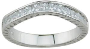 Elegant Womens Sterling Silver Wedding Anniversary Band 0.50 CT Carat Size 5-9
