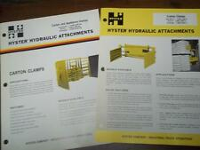 Hyster Attachments Brochure~Carton/Appliance /Cotton Clamps~Catalog Insert 1975