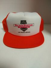 Vintage 80s Palace Station Casino Las Vegas baseball hat cap one size Orange