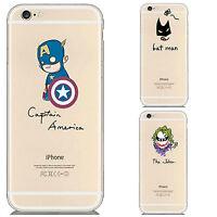 Comic Superhero Joker Captain America Batman Transparent TPU iPhone 5/5S/6 Case