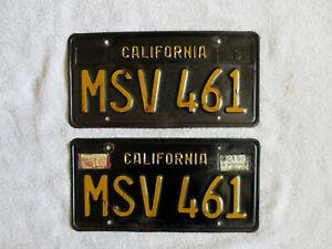 Vintage Original 1963 California Black and Yellow License Plates Set # MSV 461
