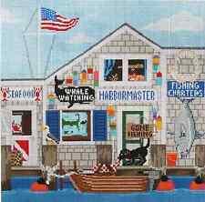 Needlepoint Handpainted STARKE Art FISHING Shanty 14x14