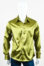 MENS Versace Collection Green Satin Buttoned Dress Shirt SZ 16 41