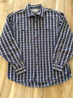 Smith & Hawken Mens Button Front Shirt Blue Plaid Long Sleeve 100% Cotton XL