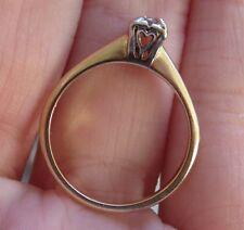 14K ANTIQUE VINTAGE ART DECO HEARTS OLD CUT DIAMOND SOLITAIRE ENGAGEMENT RING