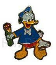 DONALD DUCK HOLDING FLOWERS red pants VINTAGE 1979 Disney BROOCH Pin